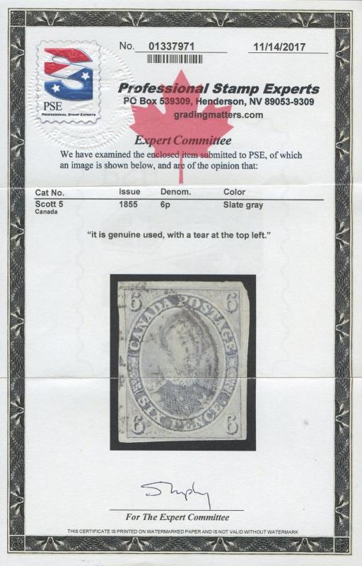 CANADA #5 VF+ USED (APP) PRINCE ALBERT 1885 WITH PSE CERT CV $1,600 AU530
