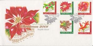 Norfolk Island 2001 FDC Sc #748-752 5 Flowers and song lyrics - Christmas