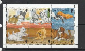 Gibraltar 1996 Puppies sheetlet UM SG 761/6