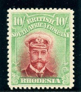 Rhodesia 1913 KGV Admirals 10s crimson & yellow-green MLH. SG 241. Sc 137.