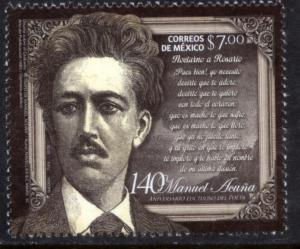 MEXICO 2827 140th Anniv. Death of Poet Manuel Acuna. MINT, NH. VF.