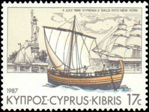 Cyprus #689-692, Complete Set(4), 1987, Ships, Never Hinged