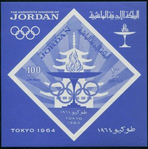 Jordan C34a sheet,MNH.Michel 507 Bl.21. Olympics Tokyo-1964. Pagoda, Torch.