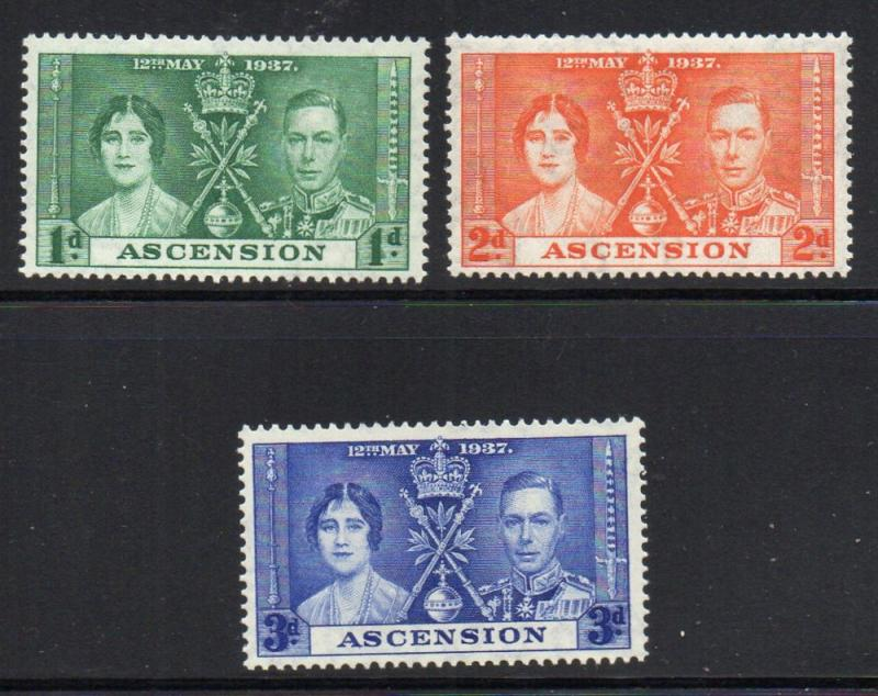 Ascension Sc 37-9  1937 Coronation Geo0rge VI stamp set mint
