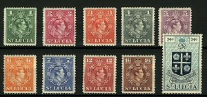 St Lucia KGVI range of issues to 24c sg146/56 (10v) Mint Stamps