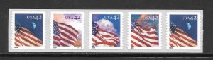#4240-43 MNH Strip of 5 With Plate #