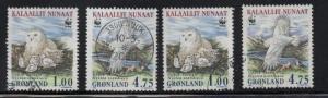 Greenland Sc 344-7 1999 WWF Snowy Owl stamp set used
