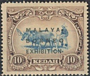 Kedah 1922 KGV 10c Malaya Borneo Exhibition Raised Stop Variety MH