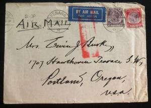 1937 Penang Malaya Airmail cover to Portland OR USA Shop By Telephone Cancel