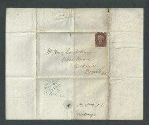 1848 Great Britain #3 Red Brown On Folded Letter W/Blue Back Stamp
