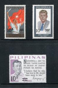 Philippines 1146-1148, MNH, Ramon Magsaysay, John F. Kennedy surcharged 1972