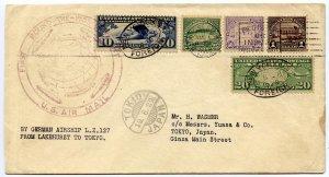 Airmail 10c,20c, 4th Bureau 25c,50c,$1.00 Zeppelin Lakehurst NJ to Japan, 1929
