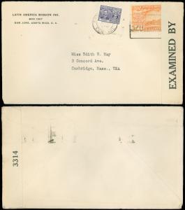1940s WWII Censor Tape Cover, SAN JOSE, COSTA RICA CDS, to CAMBRIDGE, MASS, USA!