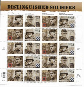 USA 3393-3396 MNH SHEET DISTINGUISHED SOLDIERS
