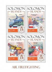 Solomon Islands - 2014 Air Firefighting - 4 Stamp Sheet - 19M-379
