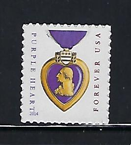 Catalog #5035 Single stamp Purple Heart Military Combat Issue 2014 Issue