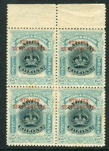 STRAITS SETTLEMENTS-1906-7 25c Green & Greenish Blue.  LMM block Sg 149