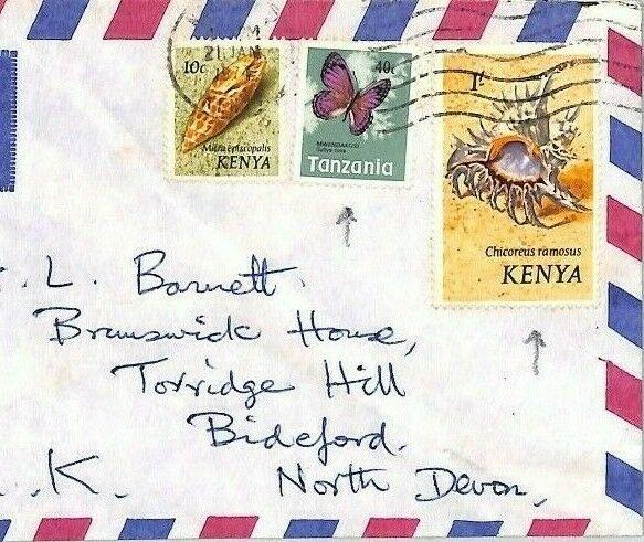 CE193 KENYA TANZANIA Cover MIXED FRANKING 1974 BUTTERFLIES Air Mail SEA SHELLS