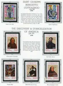 VATICAN CITY 1992  COMPLETE YEAR SET STAMPS WITH BOOKLET  MINT NH ON ALBUM PAGES