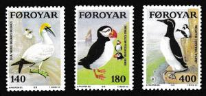 Faroe Is. Gannet Puffin Guillemot Sea Birds 3v SG#35-37 MI#36-38 SC#36-38