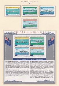 Tristan Da Cunha # 247-250 & 250a, Royal Fleet Auxillary Vessels, NH, 1/2 Cat.