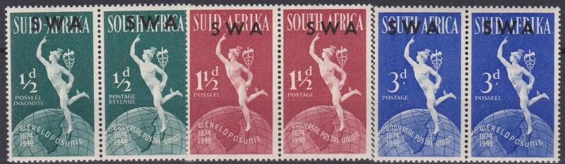 SOUTH WEST AFRICA  1949  S G  138 - 140  UPU SET    MH