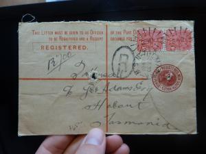 New South Wales QV 3d RLE uprated 1d x 2 1904 Tasmania, Circle R Ulmarra