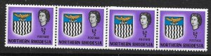 NORTHERN RHODESIA SG75 1963 ARMS ½d DEFINITIVE MNH COIL JOIN STRIP OF 4