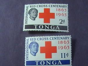 TONGA # 134-135 -MINT NEVER/HINGED-COMPLETE SET--RED CROSS--QEII-1963