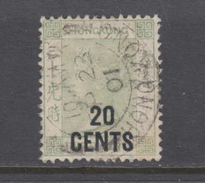 Hong Kong Sc 52 used. 1891 20c on 30c gray green Victoria, crisp cancel