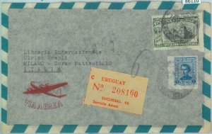 86110 - URUGUAY - POSTAL HISTORY -  Registered AIRMAIL  COVER to ITALY 1951