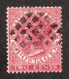 Sc15 / SG30  - Malaya Perak - 1 on 2 cent - 1883-87 - Used - superfleas - cv$85