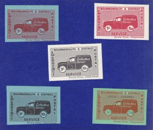 GB283) 1971 Postal Strike, Bournemouth & District, Set of 5. Dual currency.
