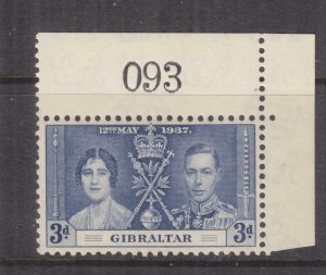 GIBRALTAR, 1937 Coronation, 3d. Blue, Sheet # 93, mnh., lhm. in margin.