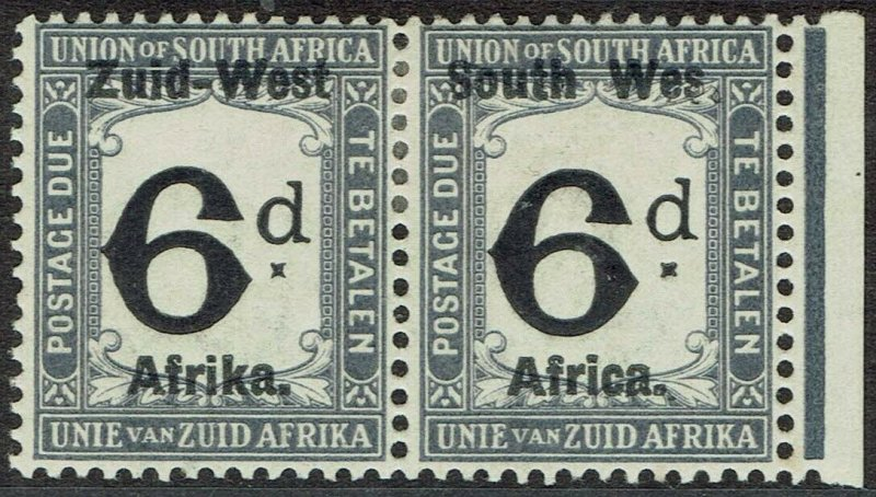 SOUTH WEST AFRICA 1923 POSTAGE DUE 6D PAIR VARIETY WES FOR WEST SETTING I