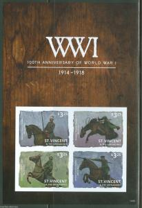 ST. VINCENT  2014 CENTENNARY OF WORLD WAR I  SHT  II HORSE IMPERFORATE   MINT NH