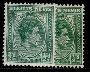 ST KITTS-NEVIS GV SG68 + 68a, ½d SHADE VARIEITES, M MINT.