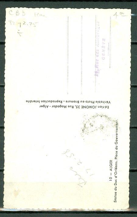 ALGERIA #CB3 on NICE ALGER MONUMENT  CARD