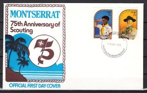 Montserrat, Scott cat. 487-488. 75th Scouting Anniversary. First Day Cover. ^