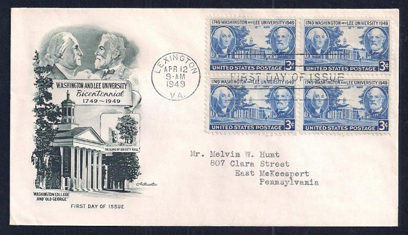 UNITED STATES FDC 3¢ Washington & Lee BLOCK 1949 Artmaster