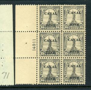 Canal Zone 90 Statue of Liberty Overprint Stamp Plate Block (Stock #CZ90-14)