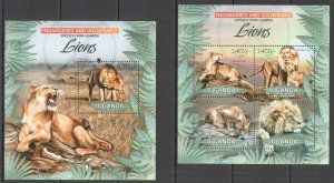 UG034 2012 UGANDA LIONS WILD CATS ENDANGERED & VULNERABLE #2979-2+BL409 MNH