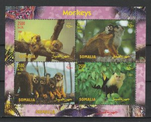 Somalia MNH S/S Monkeys Primates 2004