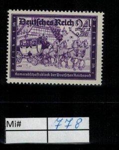 Deutschland Reich TR02 DR Mi 778 1938 Reich Postfrisch ** MNH