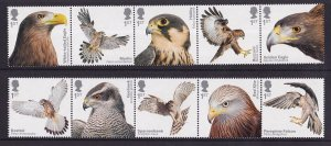 Great Britain  MNH  2019  birds of prey in strips of 5