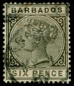 BARBADOS SG100, 6d Olive-Black, USED. Cat £48.