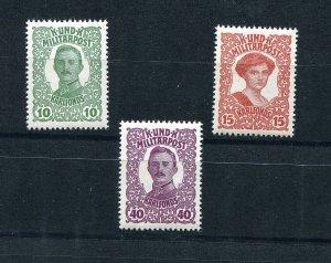 BOSNIA & HERZEGOVINA AUSTRIAN POST 1918 KARLS FUND SET SCOTT B18-B20 PERFECT MNH