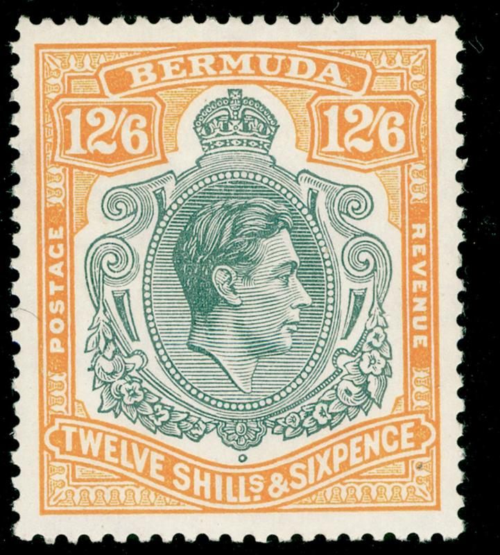 BERMUDA SG120e, 12s 6d grey & pale orange, NH MINT. Cat £100.
