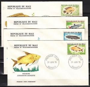 Mali, Scott cat. 256-57, 259-60. Fish values from set. 4 First day covers.