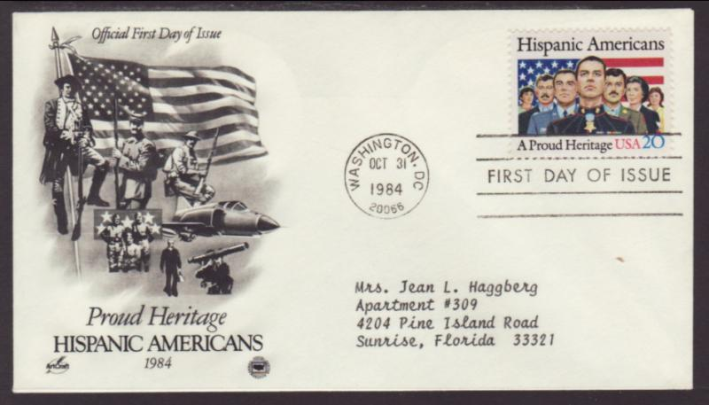 US Hispanic Americans 1984 PCS Typed FDC BIN
